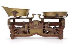 Balance scale. Old-fashioned vintage balance scale on white background Stock Image