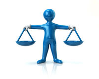 Balance scale blue man. Justice concept 3d illustration Stock Photos