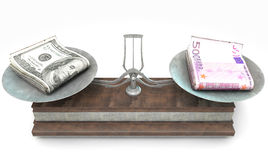 Balance Scale Comparison. An old metal and wood two pan balance scale comparing a pile of dollar bills and a pile of european euro notes on an  white background Royalty Free Stock Photos