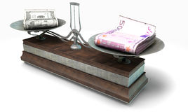 Balance Scale Comparison. An old metal and wood two pan balance scale comparing a pile of dollar bills and a pile of european euro notes on an isolated white Stock Images