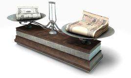 Balance Scale Comparison. An old metal and wood two pan balance scale comparing a pile of dollar bills and a pile of japanese yen on an isolated white background Royalty Free Stock Photo