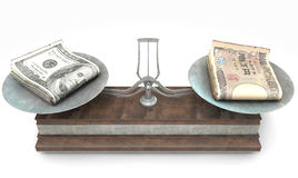 Balance Scale Comparison. An old metal and wood two pan balance scale comparing a pile of dollar bills and a pile of japanese yen on an  white background - 3D Royalty Free Stock Photos