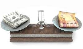 Balance Scale Comparison. An old metal and wood two pan balance scale comparing a pile of dollar bills and a pile of south african rand on an isolated white Stock Images