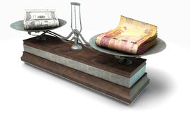 Balance Scale Comparison. An old metal and wood two pan balance scale comparing a pile of dollar bills and a pile of south african rand on an isolated white Stock Photo