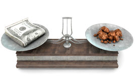Balance Scale Comparison. An old metal and wood two pan balance scale comparing a pile of dollar notes and a pile of copper nuggets on an  white background - 3D Stock Image