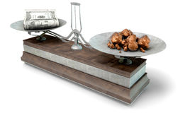 Balance Scale Comparison. An old metal and wood two pan balance scale comparing a pile of dollar notes and a pile of copper nuggets on an  white background - 3D Stock Images