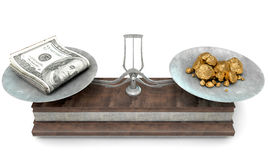 Balance Scale Comparison. An old metal and wood two pan balance scale comparing a pile of dollar notes and a pile of gold nuggets on an isolated white background Stock Images