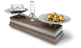 Balance Scale Comparison. An old metal and wood two pan balance scale comparing a pile of dollar notes and a pile of gold nuggets on an isolated white background Stock Image