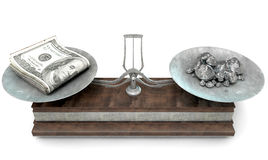 Balance Scale Comparison. An old metal and wood two pan balance scale comparing a pile of dollar notes and a pile of platinum nuggets on an isolated white Royalty Free Stock Photo