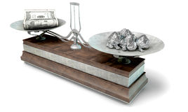 Balance Scale Comparison. An old metal and wood two pan balance scale comparing a pile of dollar notes and a pile of platinum nuggets on an isolated white Stock Photos