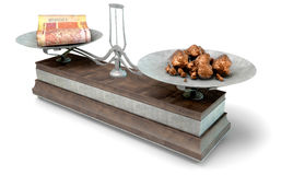 Balance Scale Comparison. An old metal and wood two pan balance scale comparing a pile of south african rand notes and a pile of copper nuggets on an isolated Stock Images