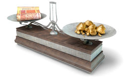 Balance Scale Comparison. An old metal and wood two pan balance scale comparing a pile of south african rand notes and a pile of gold nuggets on an isolated Royalty Free Stock Image