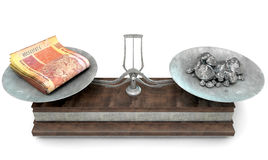 Balance Scale Comparison. An old metal and wood two pan balance scale comparing a pile of south african rand notes and a pile of platinum nuggets on an isolated Stock Photos