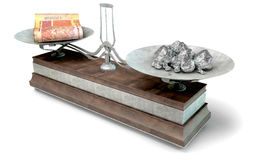 Balance Scale Comparison. An old metal and wood two pan balance scale comparing a pile of south african rand notes and a pile of platinum nuggets on an isolated Royalty Free Stock Image