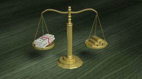 Balance scale with Dollar packs and gold bars Royalty Free Stock Photos