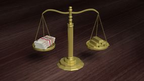 Balance scale with Euro packs and gold bars Royalty Free Stock Photo