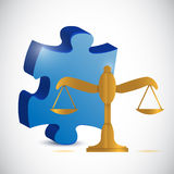 Balance scale and puzzle piece illustration Royalty Free Stock Images