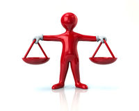 Balance scale red man jastice concept Royalty Free Stock Photo