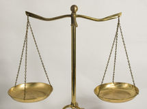 Balance scales. Closer view of a balance scale, simple, easy to use and efficient Stock Image