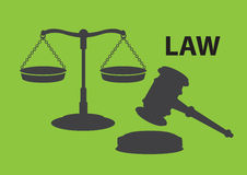 Balance Scales and Gavel for Law and Justice Vector Illustration Stock Image