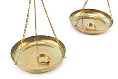 Balance scales with golden wedding rings Royalty Free Stock Photography