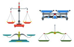 Balance scales with weight and equal pans. Device to measure mass, compare two objects, home and laboratory instrument. Vector flat style cartoon illustration royalty free illustration