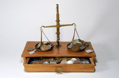 Balance scales wiht coins. Old set of weighing scales with coin Royalty Free Stock Photography
