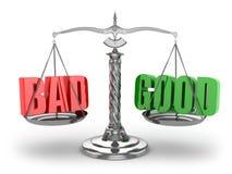 Balance schlecht oder gut. Skalen lizenzfreie abbildung