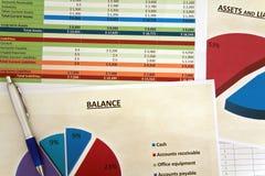 Balance sheet. A hypothetical negative balance of a hypothetical company Stock Image