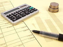 The balance sheet and calculator Stock Image