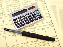 The balance sheet and calculator Stock Photos