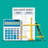 Balance sheet with calculator, scales and pen. Financial reports statement and documents. Accounting, bookkeeping, debit and credit calculations. Vector Royalty Free Stock Photos