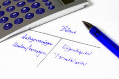 Balance sheet - handwrited on white paper in german letters Royalty Free Stock Image