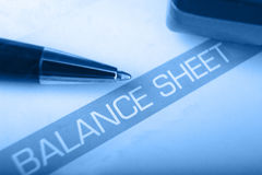 Balance sheet heading with shallow DOF Stock Image