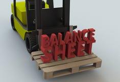 BALANCE SHEET, message on wooden pillet with forklift truck Stock Photos
