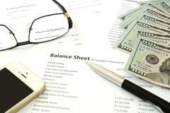 Balance sheet money stock image