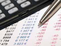 Balance sheet with pen and calculator Royalty Free Stock Image