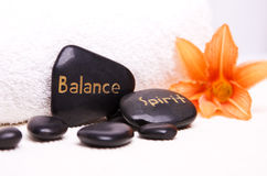 Balance and Spirit. Wellness Decoration with hot Stone Balance and Spirit Royalty Free Stock Images