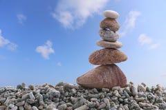 Balance stone on pile rock of blue sky background. Stock Photography