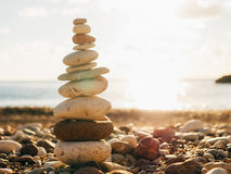 Balance stones on the beach. Peace of mind. Equilibrium life. Ca Stock Photography