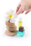 The balance stones with Frangipani flower, shampoo Stock Photo