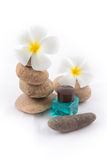 The balance stones with Frangipani flower, shampoo Stock Images