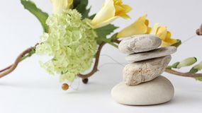 Balance of stones. Stones for spa treatments on a white backgrou Stock Photos