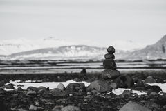 Balance stones, Zen stone stacked, black and white toned Royalty Free Stock Images
