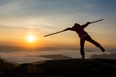 Balance in the sunrise royalty free stock photography