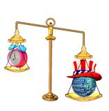 Balance Technology with America. Balance weight scales with time clock and American technology stock illustration