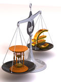 Balance of time and money. 3d Royalty Free Stock Image