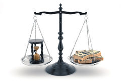 Balance with time and money upon its scales. Balance with time (sand glass) on one scale and money (dollars) on another one; High-quality 3d render Stock Photo