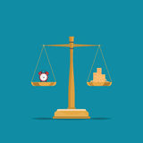 Balance time and money  on scales. Balance time and money on scales, Current value of the world, conceptual flat design vector illustration Royalty Free Stock Photography
