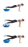 Balance training ball exercise. Execution with a professional trainer Stock Photography